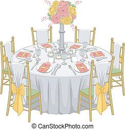 tabla, recepción, formal