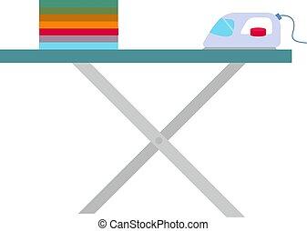 tabla, vector, fondo., ilustración, planchado, blanco