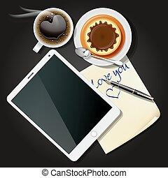 Tabla y papel con café negro y pudín