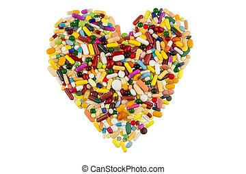Tablas coloridas en forma de corazón