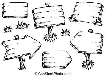 tablas de madera, colección, dibujos