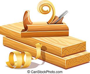Tablas de madera robadas por herramientas de plancha y aserrín