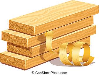 Tablas de madera y aserrín