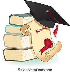 Tablas de mortero, libros y diploma