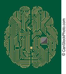tablero sistema, cerebro, astilla, computadora