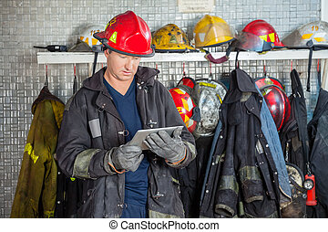 tableta, bombero, parque de bomberos, digital, utilizar