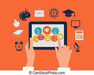 tableta, concept., icons., conmovedor, vector., manos, e- aprendizaje, educación