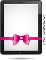 Tableta de PC con arco rosa