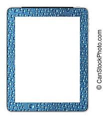 Tableta de PC en blanco con gotas de agua diseñadas por fotógrafo