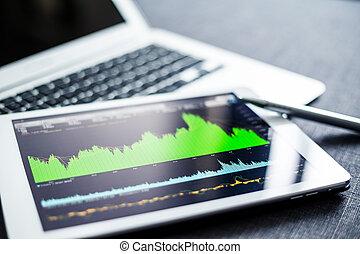 Tableta digital con gráfico de la bolsa