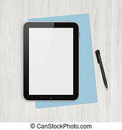 Tableta digital en blanco en un escritorio blanco