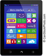 tableta, metro, iconos, pc, negro, exhibición