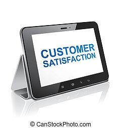 tableta, texto, exhibición, computadora, satisfacción del cliente