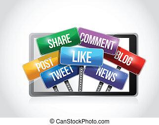Tabletas con medios sociales indican ilustración
