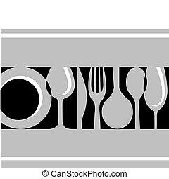 tableware:fork, , cuchillo, placa, gris, vidrio