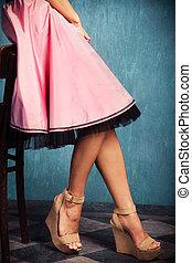 tacón, falda, alto, shoes, rosa, cuña