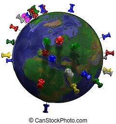 Tacks en el mapa de la tierra espacial