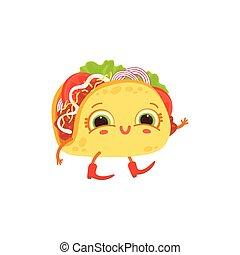 taco, infantil, carácter, caricatura, cara, vector, ilustración, isolated., plano, plato