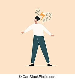 tacto, salud, ataque, mental, caricatura, desorden, plano, africano, concept., pánico, deprimido, miedo, o, problemas, negro, ilustración, problema, joven, girl., mujer, anxiety., nervioso, frustrado