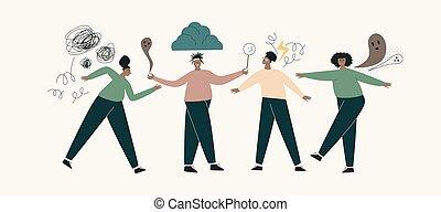 tacto, salud, desorden mental, africano, pánico, deprimido, concepto, conjunto, problemas, negro, problema, girl., mujer, ansiedad, confusión, nervioso, frustrado, thoughts.