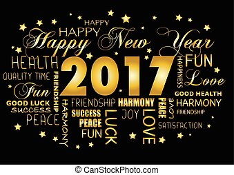 tagcloud, -, saludo, año, nuevo, 2017, tarjeta, feliz