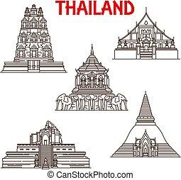 Tailandia Chiang mai, templos de ayutthaya iconos de línea