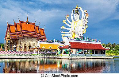 Tailandia marca en koh samui, escultura shiva y buddhist tample