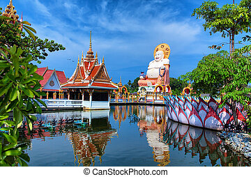 Tailandia viajó de fondo. Templo Buda pagoda y hermosa naturaleza tropical