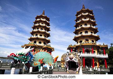 taiwán, famoso, torre, tigre, dragón