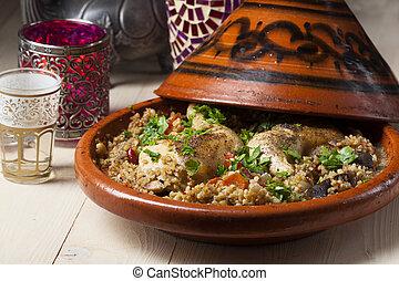 tajine, pollo, cocinado