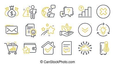 tal, symbols., sonrisa, vector, comments, iconos de tecnología, refrigerador, conjunto