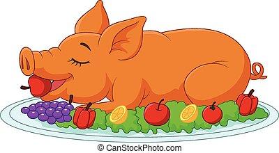 taladró, p, cría, caricatura, cerdo