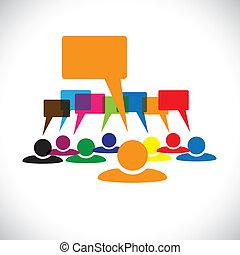 talking(speech, concepto, y, graphic-, trabajadores, vector, bubbles), líder