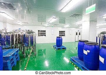 Taller de fábrica farmacéutica interior