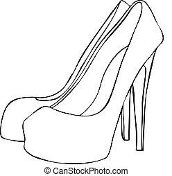 talonado, alto, elegante, estilete, shoes