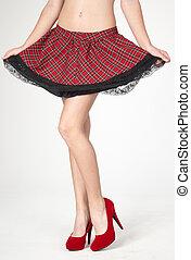 talones, piernas, mujer, falda