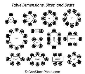 tamaños, rectangular, dimensiones, redondo, oval, tabla, seating.