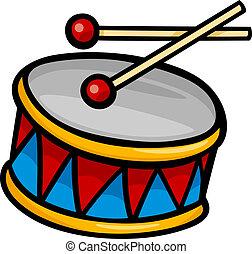 tambor, imágenesprediseñadas, caricatura, ilustración