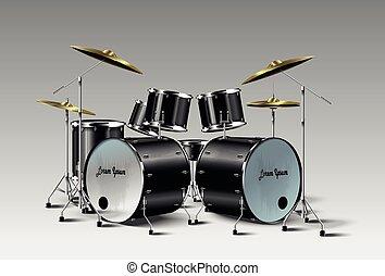 tambor, vector., realista, kit.