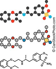 Tamsulosin hiperplasia prostatica benigna (BPH) molécula de drogas.