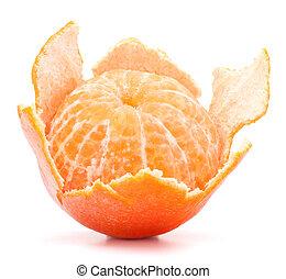 Tangerina pelada o fruta mandarina