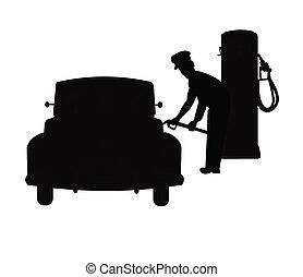 tanque, jinete, gas, relleno, coches