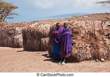 tanzania, gente, áfrica, su, maasai, aldea