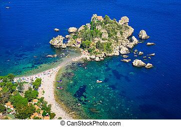 taormina, sicilia, bella, aéreo, isola, playa, vista