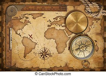 tapa, viejo, mapa del tesoro, soga, regla, compás, latón, viejo