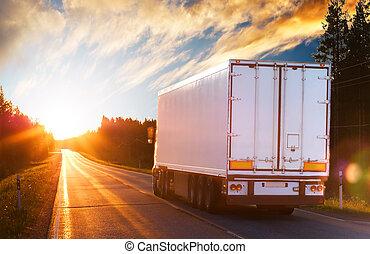 tarde, camión, camino, asfalto