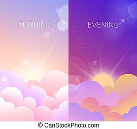 tarde, cielo, ilustración, mañana