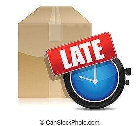 tarde, entrega, reloj, caja