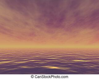 tarde, océano