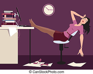 tarde, trabajando, cansado